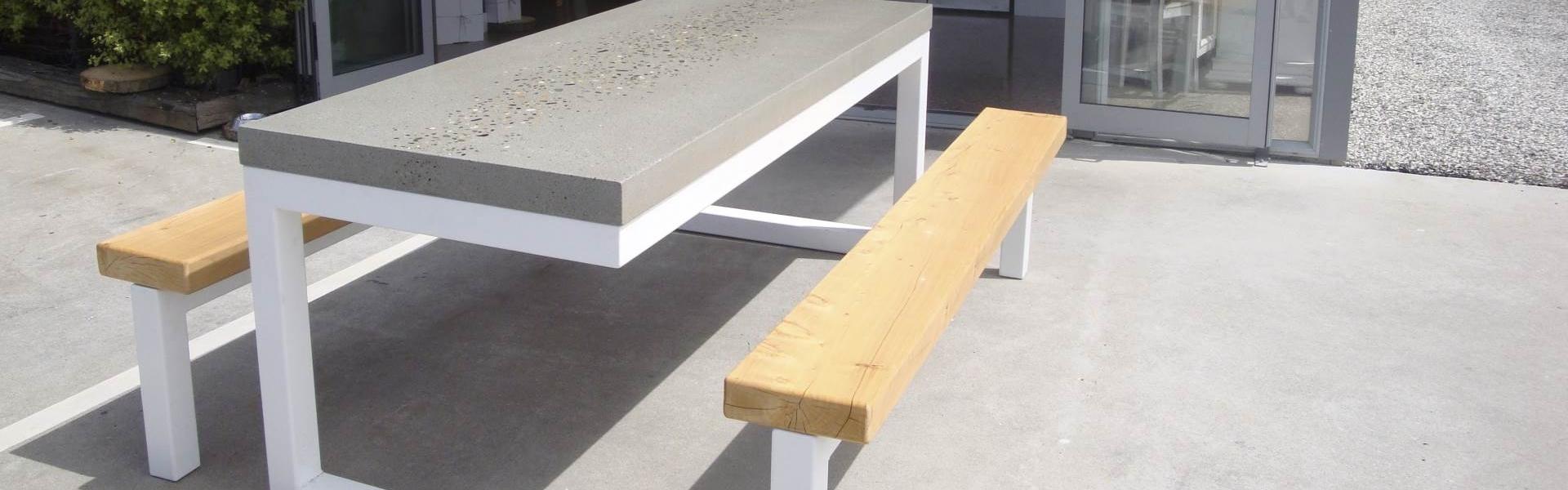 outdoor concrete table